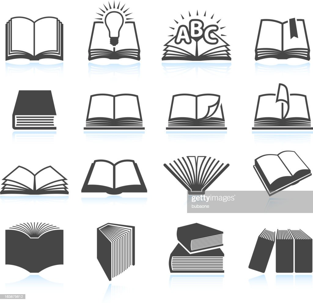 Vector illustration of black textbook icons : stock illustration