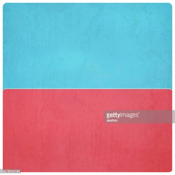 vector illustration of blue and red colored plain grungy background, horizontal half and half - run down stock illustrations, clip art, cartoons, & icons