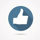 Vector Illustration of Blue Thumb Up Icon with Long Shadow