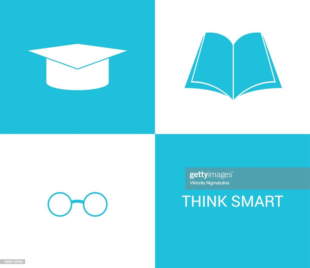 Vector illustration of book and glasses and high school hat icons. icon for any design idea.