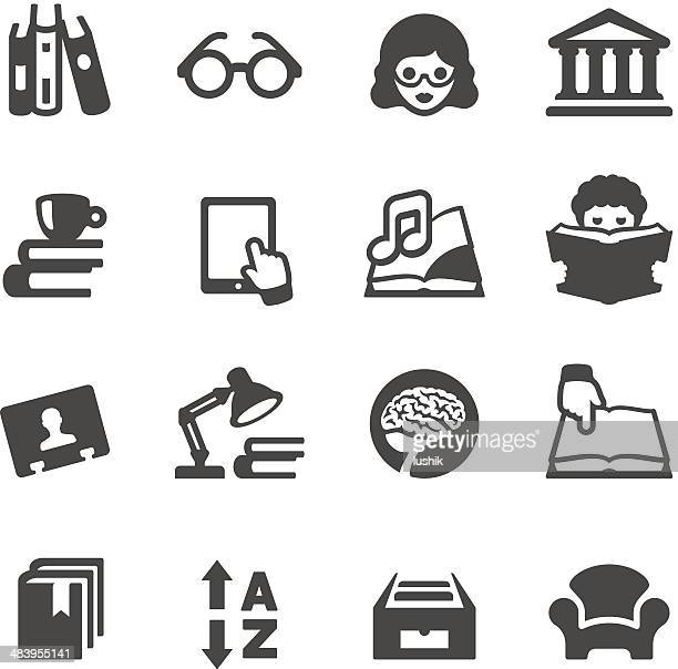 vector illustration of books and library icons - rolodex stock illustrations, clip art, cartoons, & icons