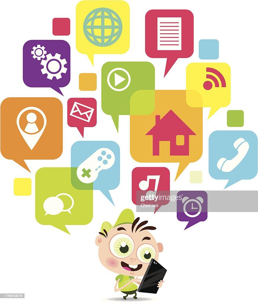 Vector Illustration of boy with digital tablet