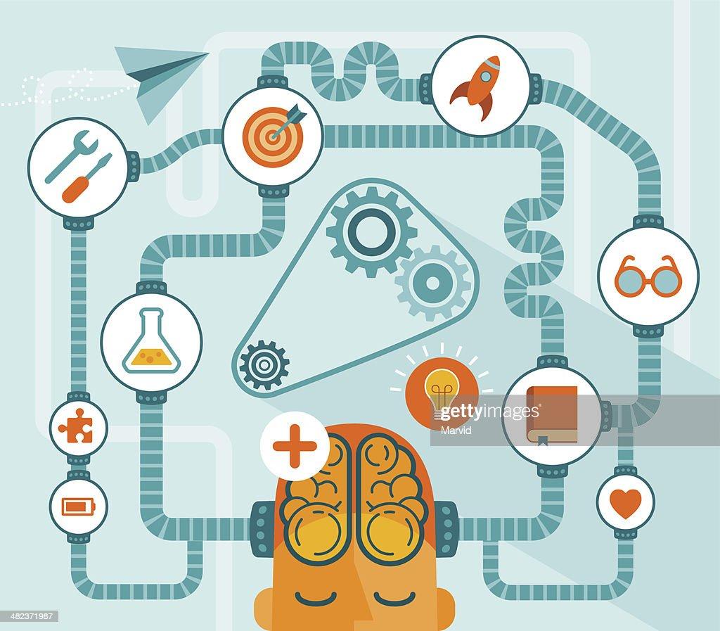 Vector illustration of brain developing ideas