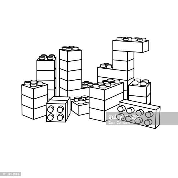 stockillustraties, clipart, cartoons en iconen met de illustratie van de vector van baksteen die op witte achtergrond voor jonge geitjes kleurend boek wordt geïsoleerd. - blokken