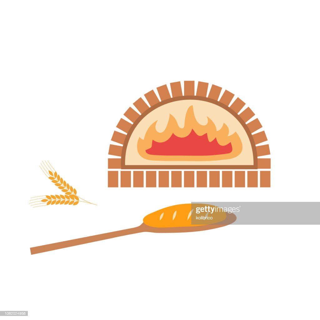 Vector illustration of brick oven and baked bread on the shovel.