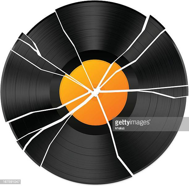 vector illustration of broken vinyl - broken stock illustrations, clip art, cartoons, & icons