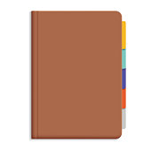 Vector illustration of brown leather diary with colorful bookmarks - isolated on white background with space for your text