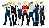 Vector illustration of building team