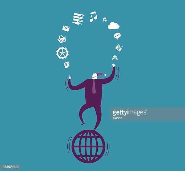 vector illustration of business processes - juggling stock illustrations, clip art, cartoons, & icons