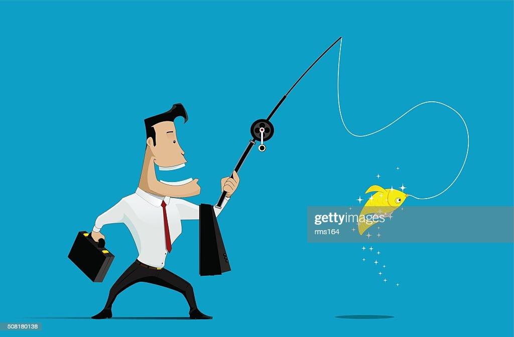 Vector illustration of Businessman fishing goldfish