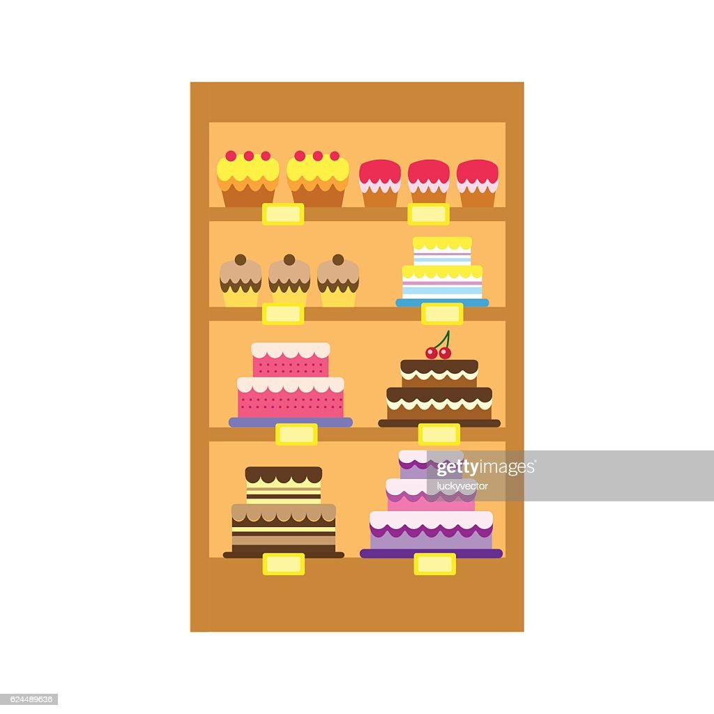 Vector illustration of cakes store display