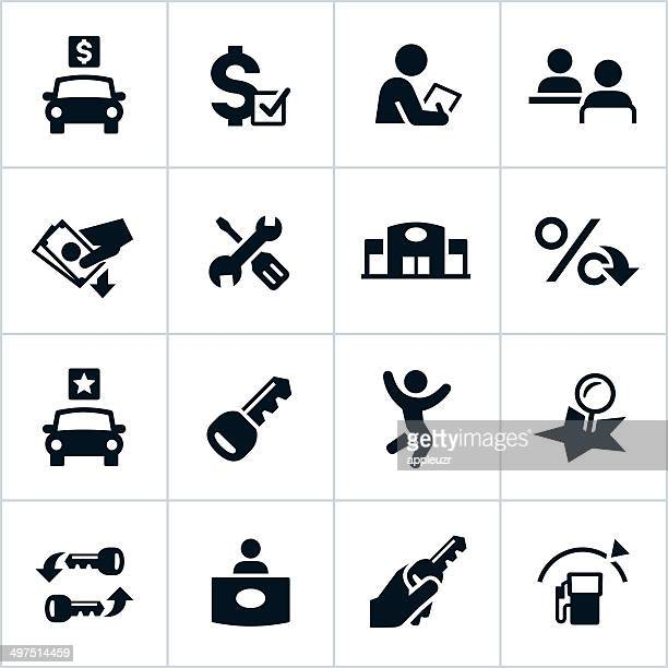 vector illustration of car dealership icons - car salesperson stock illustrations, clip art, cartoons, & icons