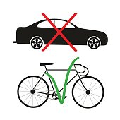 """vector illustration of """"car - no bike - yes"""" isolated on a white background"""