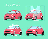 Vector illustration of car wash concept. Washing car process service, red car in soap and water on green background in flat cartoon style.
