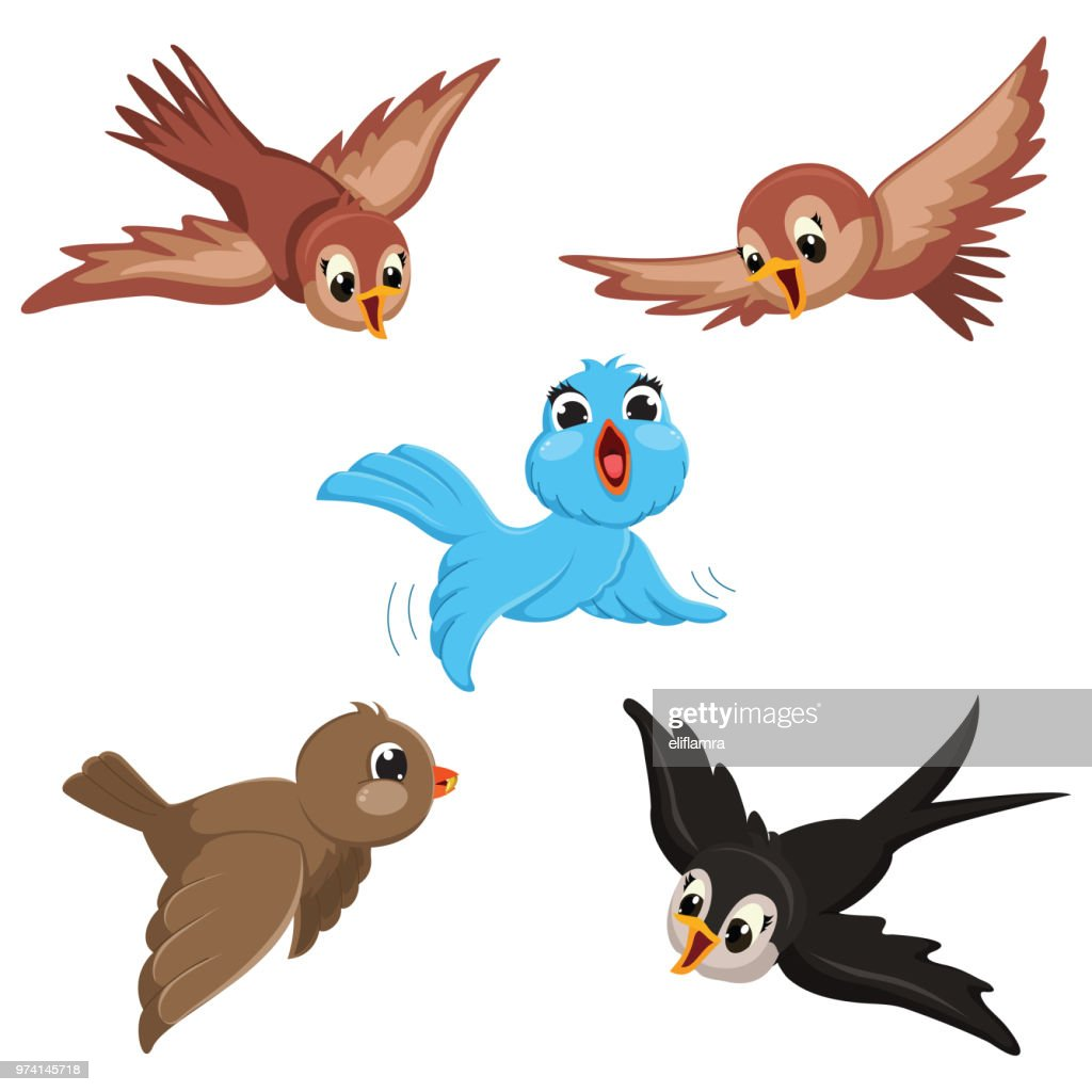 Vector Illustration Of Cartoon Birds