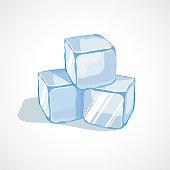 Vector illustration of cartoon blue ice cubes
