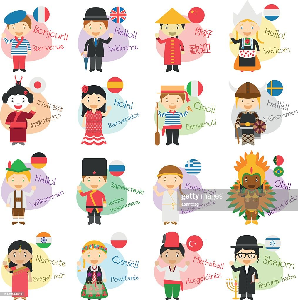 Vector illustration of cartoon characters saying hello and welco