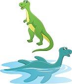 Vector Illustration Of Cartoon Dinosaurs