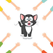 Vector Illustration Of Cartoon Hands With Cat