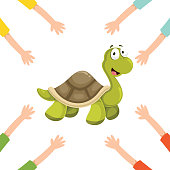 Vector Illustration Of Cartoon Hands With Turtle