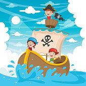 Vector Illustration Of Cartoon Kids Pirate Ship