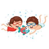 Vector Illustration Of Cartoon Kids With Fish