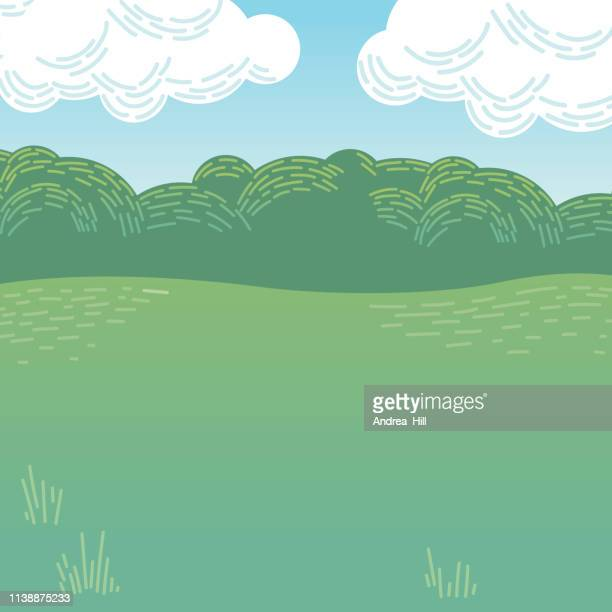vector illustration of cartoon park or woodland - childhood stock illustrations