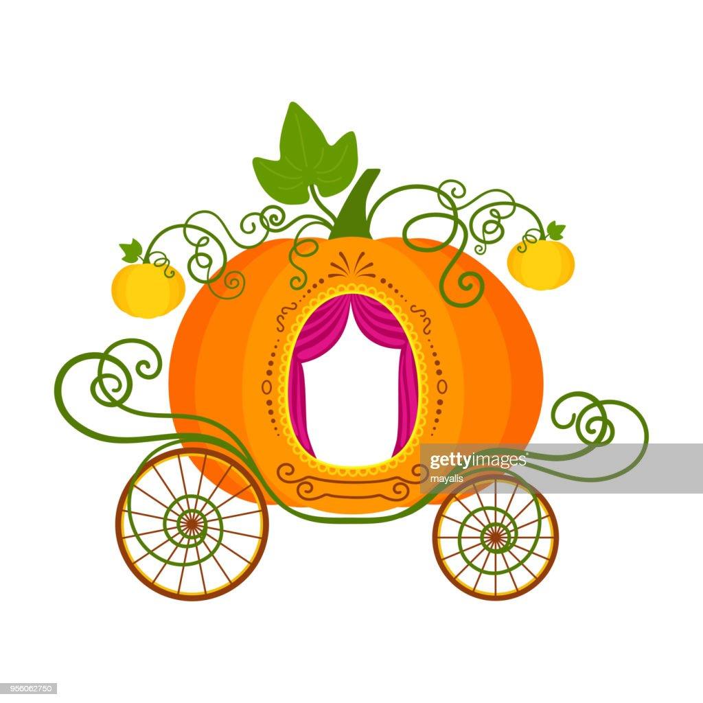 Vector illustration of cartoon pumpkin carriage