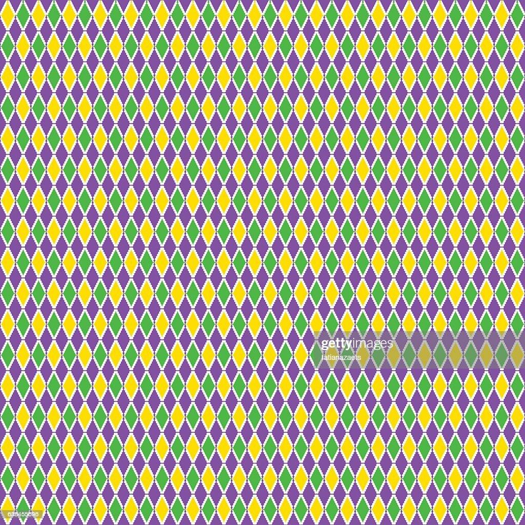 Vector illustration of cartoon seamless Mardi Gras pattern background