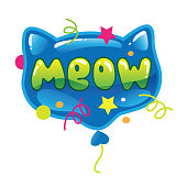 Vector illustration of cat form balloon with word