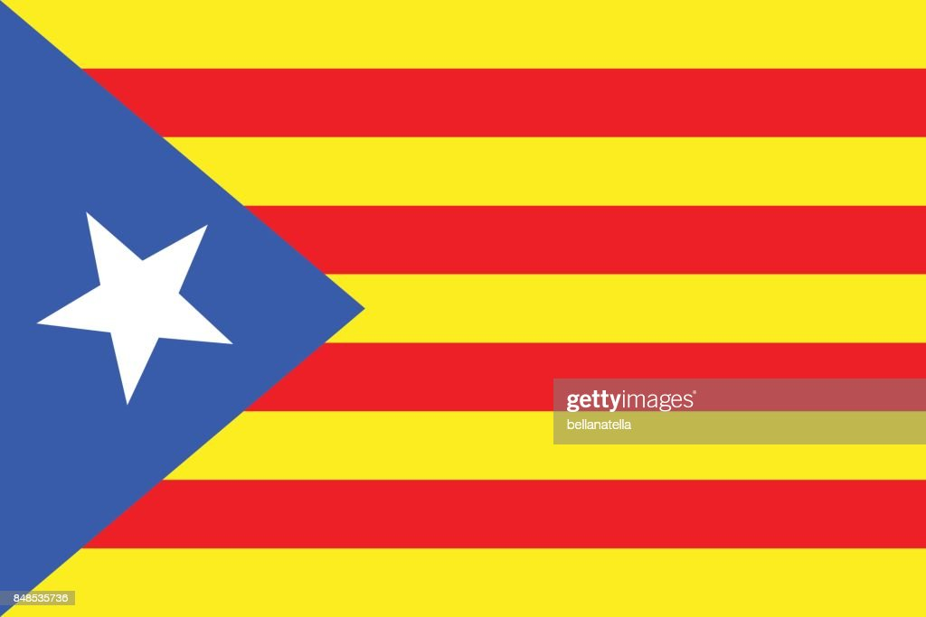 Vector illustration of Catalonia independence flag. Blue estelada.