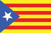 Vector illustration of Catalonia independence flag. Blue estelada.