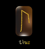 Vector illustration of characters rune gold dust on a wooden form on a black background