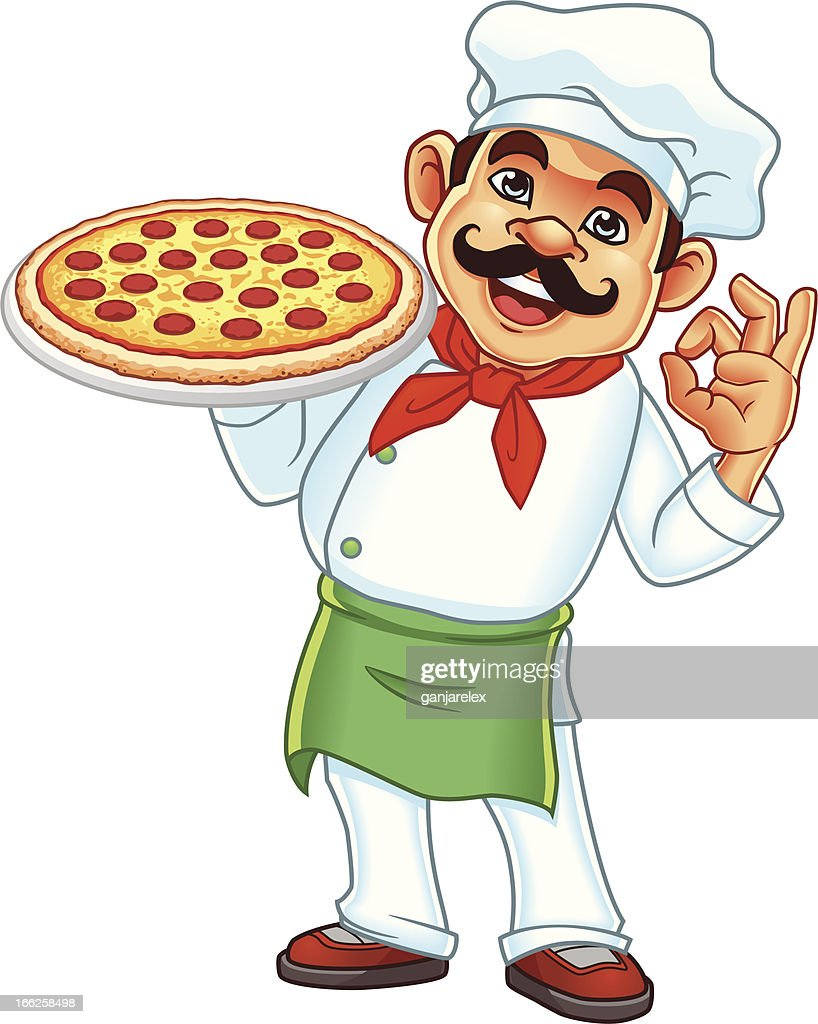 Vector illustration of chef holding pizza
