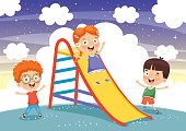 Vector Illustration Of Child Sliding