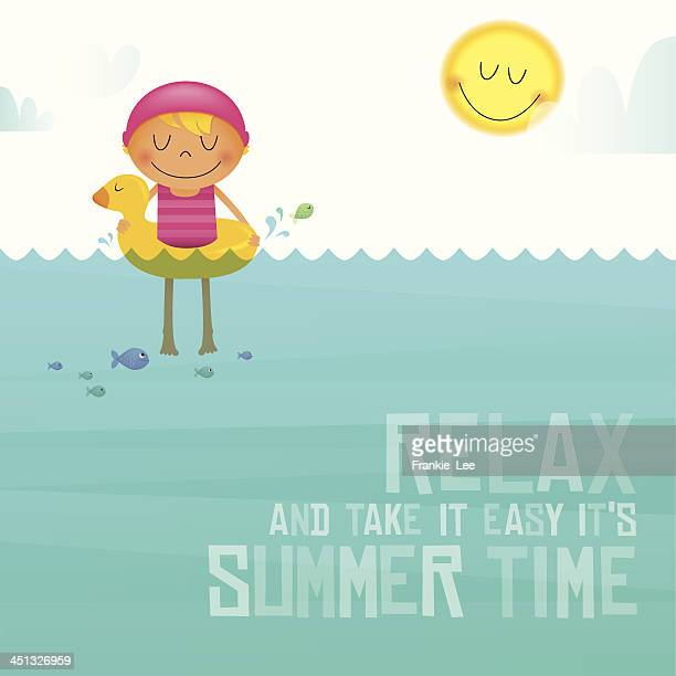 Vector illustration of child swimming