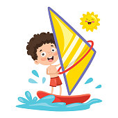 Vector Illustration Of Child Windsurfing