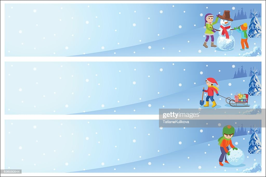 Vector illustration of children playing in the street in winter