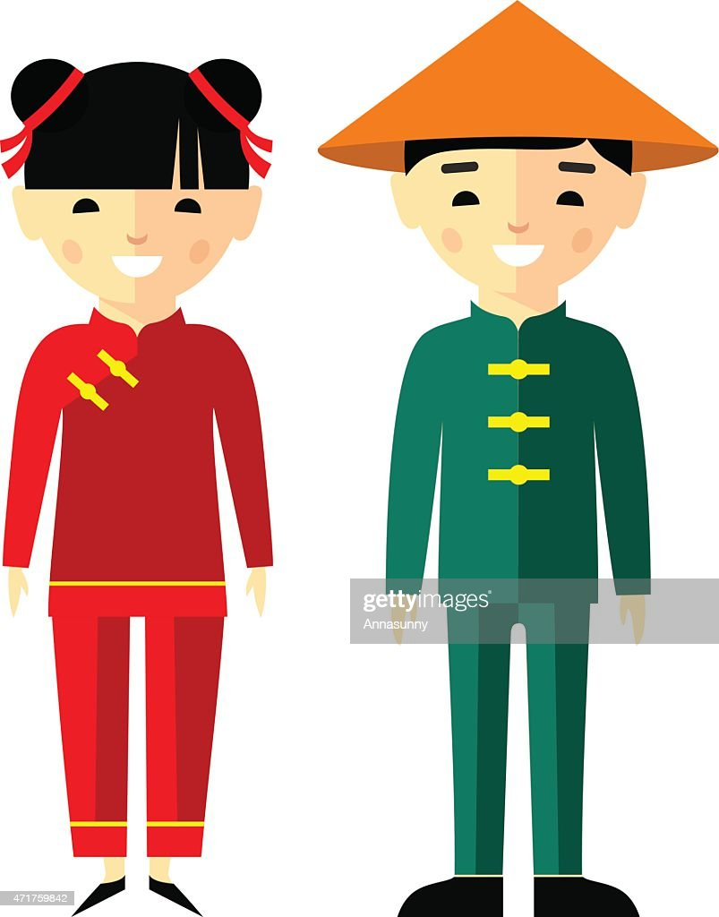 Vector illustration of chinese children, boy, girl, people