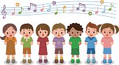 Vector illustration of choir girls and boys singing a song