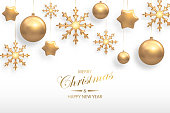 Vector illustration of Christmas background with golden realistic christmas ball, star, snowflake decorations isolated on white. New year and xmas holiday winter concept