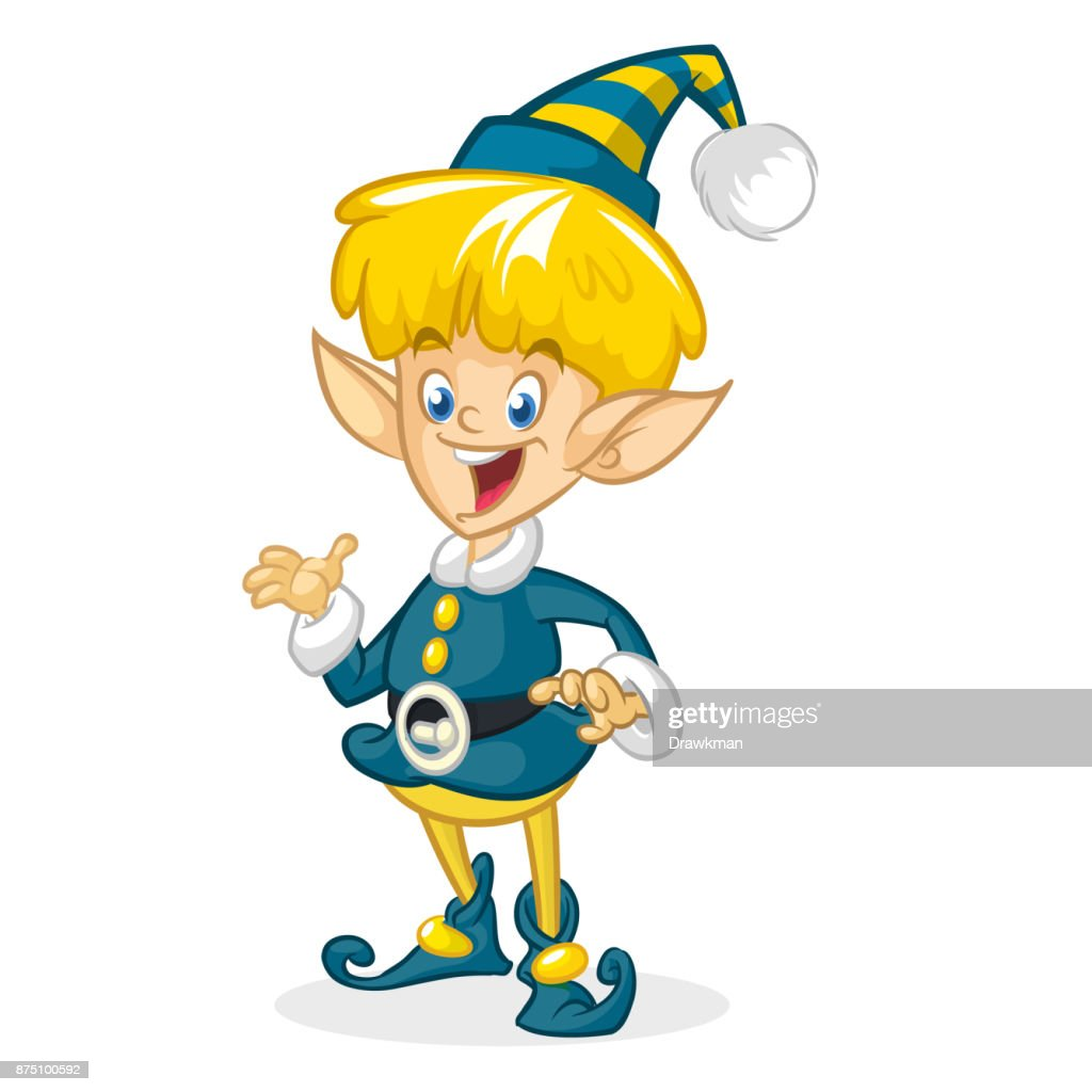 Vector Illustration Of Christmas Boy Elf Cartoon Cute Happy Dwarf ...