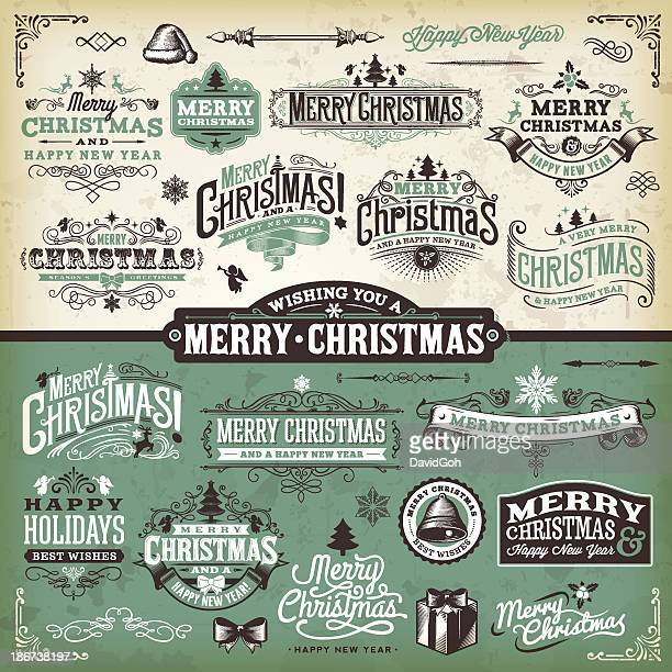 Vector illustration of Christmas labels