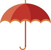 Vector illustration of classic elegant opened red umbrella isolated on