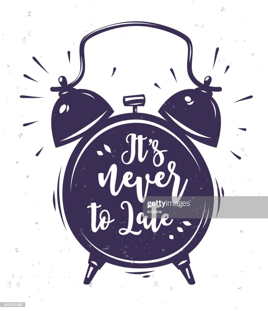 Vector illustration of clock with lettering