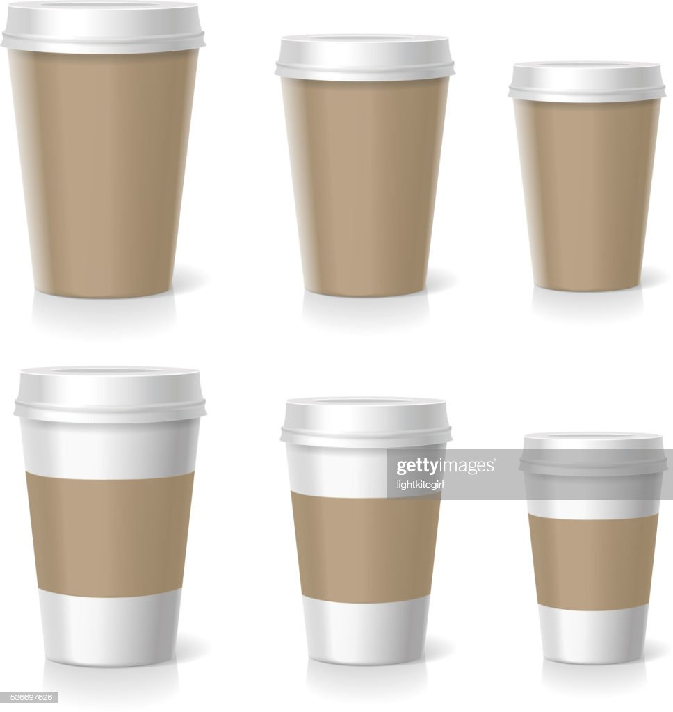 Vector illustration of coffee cups set, isolated