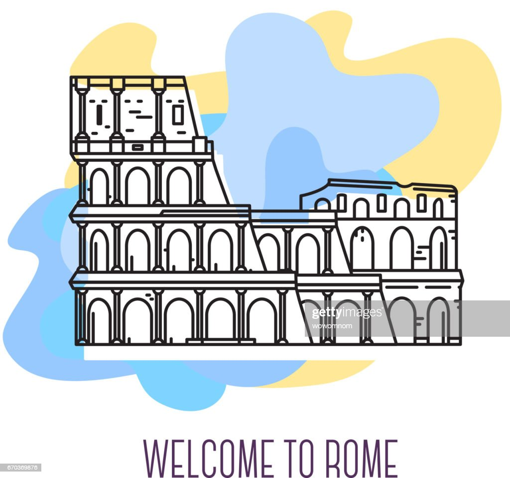 Vector illustration of coliseum. Rome landmark. Symbol of Italy. Sight-seeing of Europe.