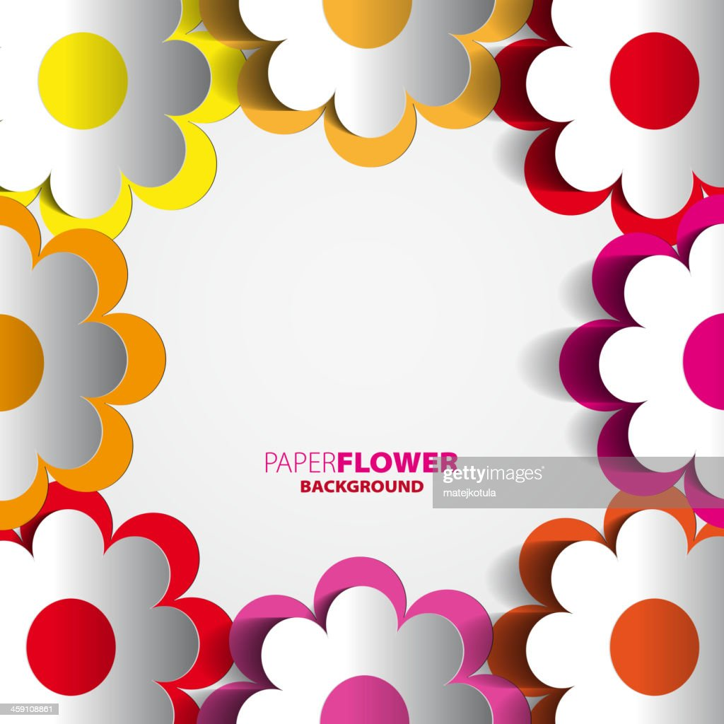 Vector Illustration Of Color Paper Flowers Cutout Vector Art Getty