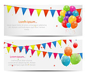 Vector illustration of colorful balloon cards