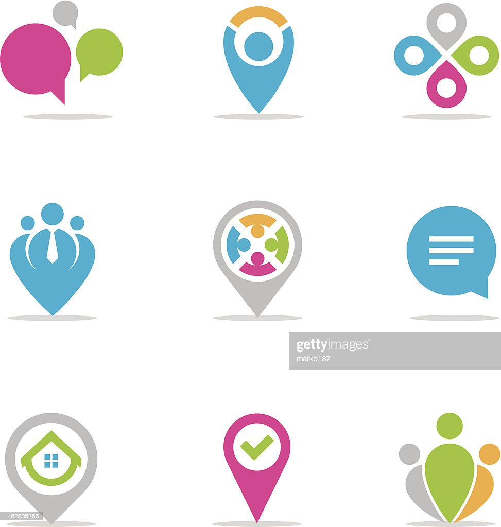 Vector illustration of colorful location pins